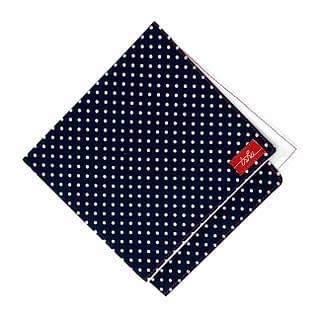 navy handkerchief with white polka dots