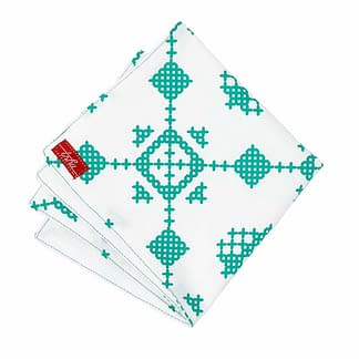 white and green winter handkerchief