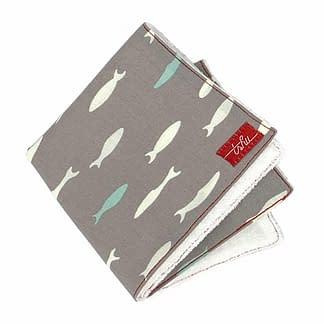 grey bamboo washcloth with fish pattern