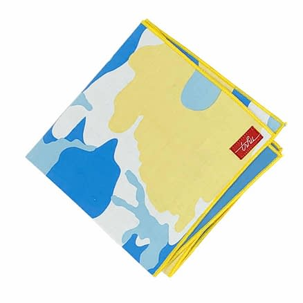 blue and yellow camouflage handkerchief