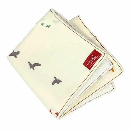 organic washcloth with birds pattern