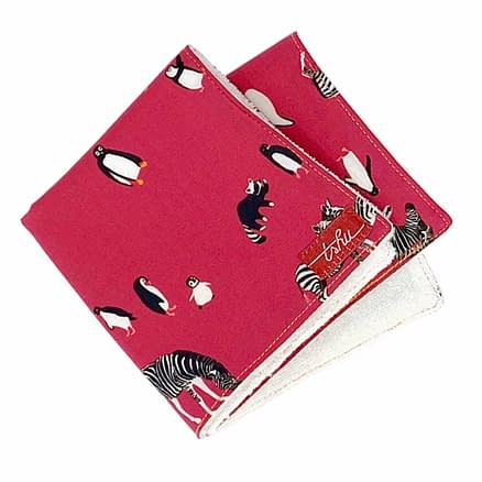 pink washcloth with pingouins and zebras