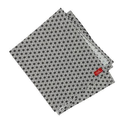 white cloth napkin with black asanoha pattern