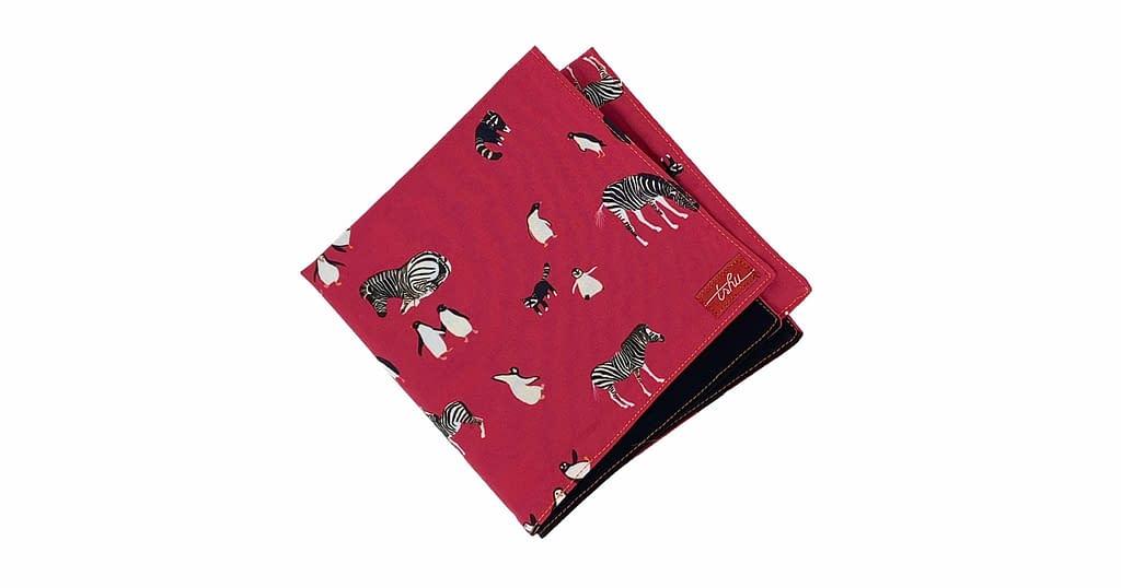 pink handkerchief with animal pattern