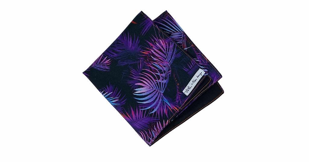 purple handkerchief with jungle pattern