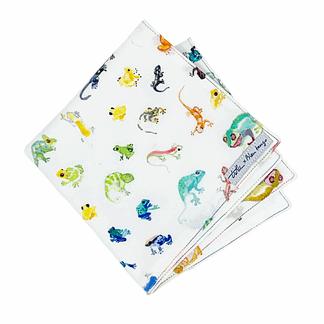 mouchoir blanc coton avec imprimé geckos