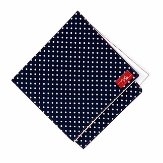 navy handkerchief with white polka dots