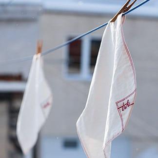 handkerchiefs on a clothesline