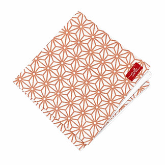 white and copper handkerchief with japanese pattern