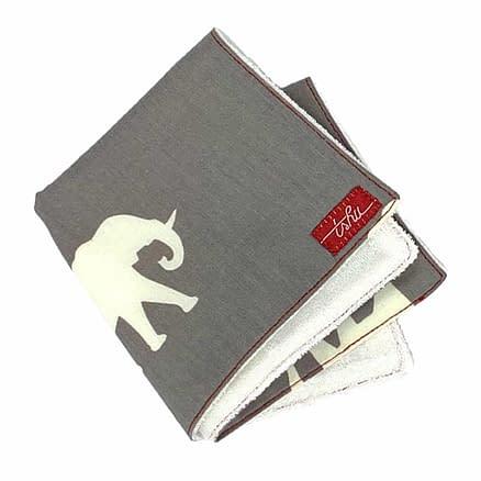 grey bamboo washcloth with elephants