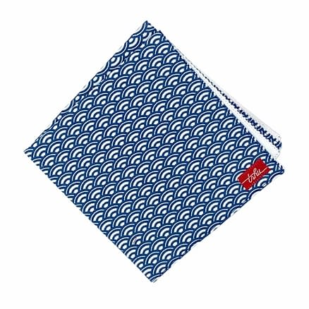 white and navy handkerchief with japanese pattern
