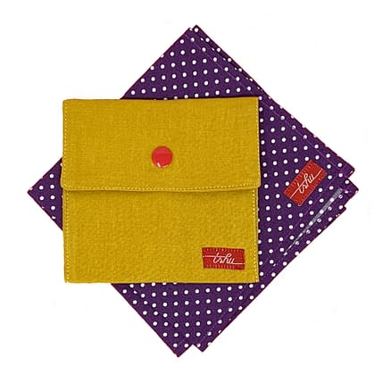 roger purple hanky with white polka dots