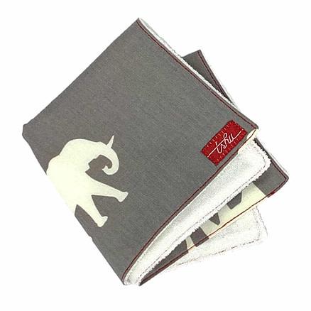 mouchoir gris avec éléphants