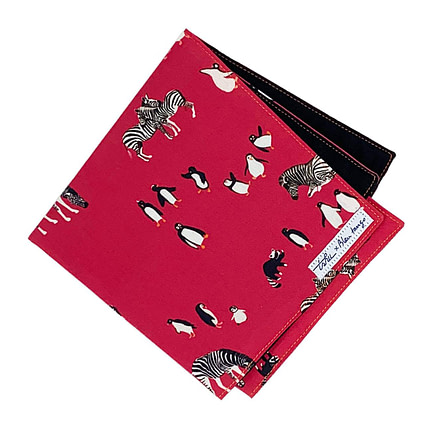 jack - pink handkerchief with zebras and pinguins